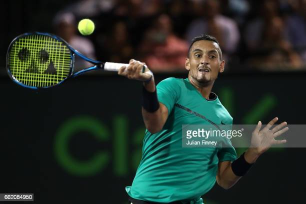 Nick Kyrgios of Australia in action against Roger Federer of Switzerland in the semi finals at Crandon Park Tennis Center on March 31 2017 in Key...