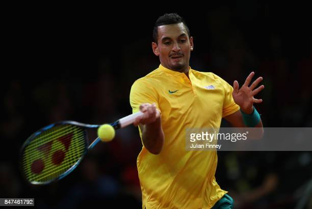 Nick Kyrgios of Australia in action in his match against Steve Darcis of Belgium during day one of the Davis Cup World Group semi final match between...