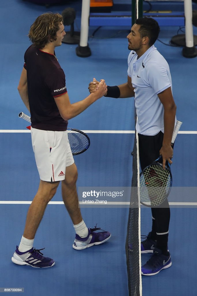 Nick Kyrgios of Australia is congratulated by Alexander Zverev of Germany after winning the Men's singles Semifinals on day eight of 2017 China Open at the China National Tennis Centre on October 7, 2017 in Beijing, China.