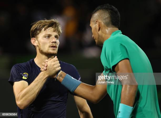 Nick Kyrgios of Australia is congratulated by David Goffin of Belgium after his straight sets win at Crandon Park Tennis Center on March 28 2017 in...