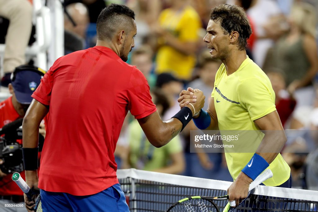 Nick Kyrgios of Australia is congratulated by Rafael Nadal of Spain after their match during day 7 of the Western & Southern Open at the Lindner Family Tennis Center on August 18, 2017 in Mason, Ohio.
