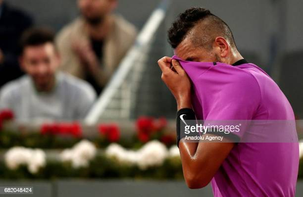 Nick Kyrgios of Australia is seen during the ATP Masters 1000 Open men's tennis match against Rafael Nadal within the Mutua Madrid Open at La Caja...