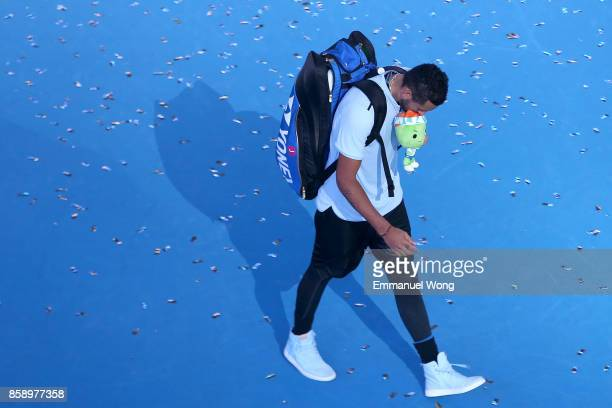 Nick Kyrgios of Australia leaves the court after losing the Men's singles final match against Rafael Nadal of Spain on day nine of the 2017 China...