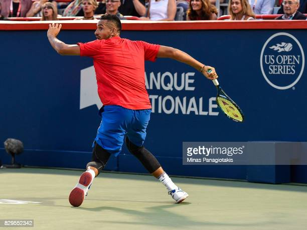 Nick Kyrgios of Australia looks behind him after hitting the ball against Alexander Zverev of Germany during day seven of the Rogers Cup presented by...