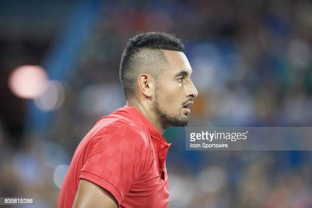 Nick Kyrgios of Australia looks on after a point against David Ferrer of Spain during their semifinal match in the Western Southern Open at the...