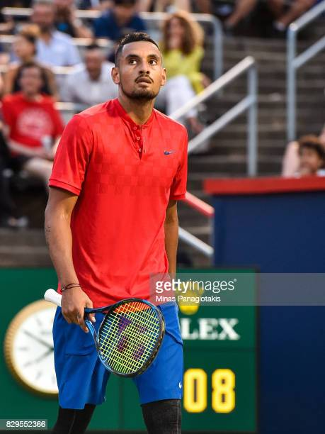 Nick Kyrgios of Australia looks on against Alexander Zverev of Germany during day seven of the Rogers Cup presented by National Bank at Uniprix...