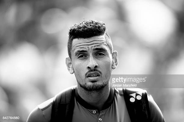 Nick Kyrgios of Australia looks on as he walks off court after his match against Alexander Zverev of Germany during day four of The Boodles Tennis...