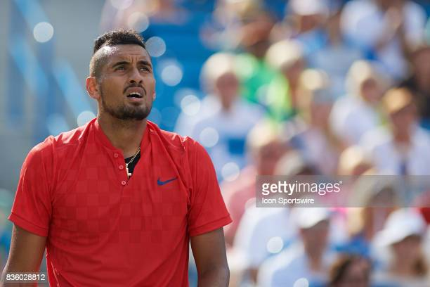 Nick Kyrgios of Australia looks on during the men's finals in the Western Southern Open at the Lindner Family Tennis Center in Cincinnati OH Dimitrov...