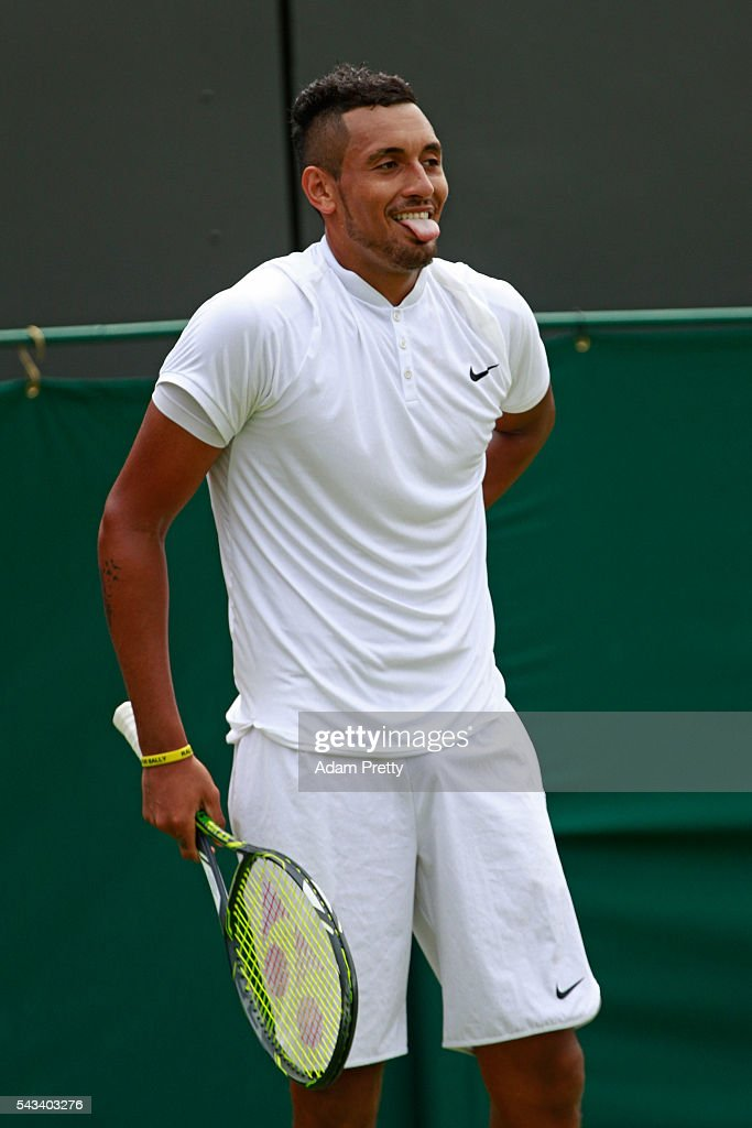 <a gi-track='captionPersonalityLinkClicked' href=/galleries/search?phrase=Nick+Kyrgios&family=editorial&specificpeople=6705178 ng-click='$event.stopPropagation()'>Nick Kyrgios</a> of Australia looks on during the Men's Singles first round match against Radek Stepanek of The Czech Republic on day two of the Wimbledon Lawn Tennis Championships at the All England Lawn Tennis and Croquet Club on June 28, 2016 in London, England.