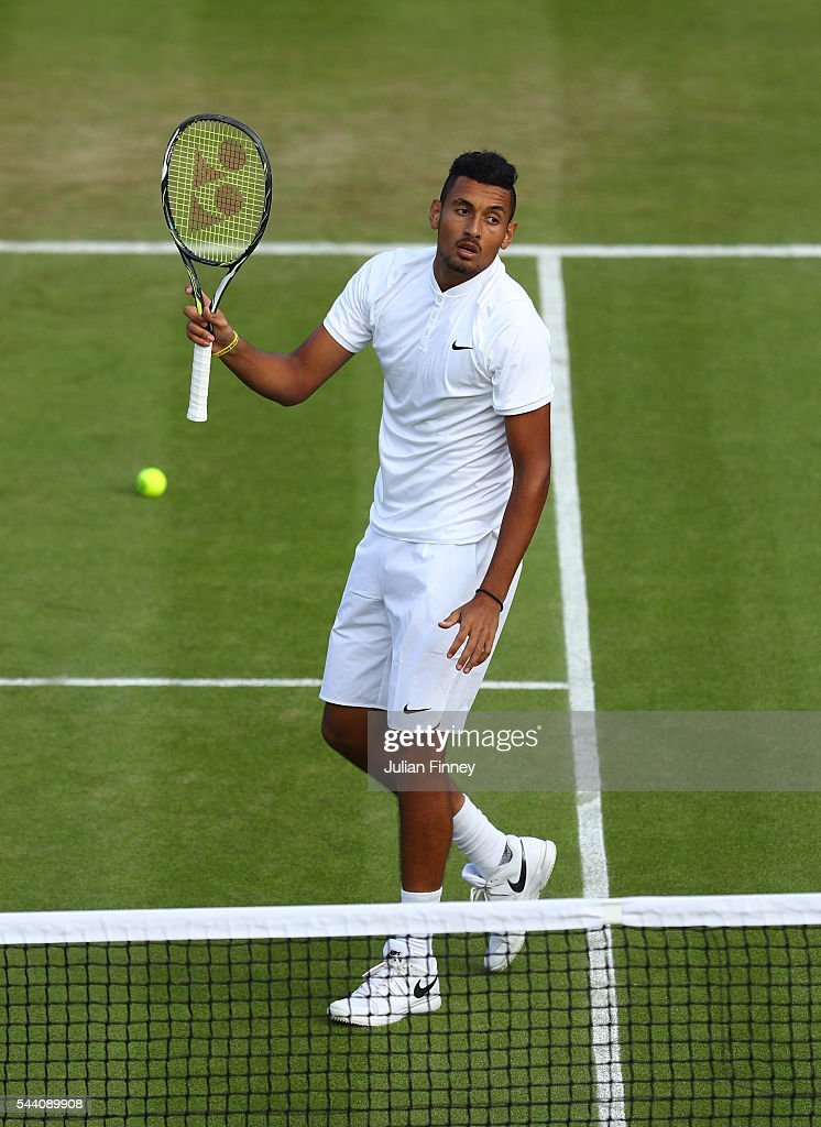 <a gi-track='captionPersonalityLinkClicked' href=/galleries/search?phrase=Nick+Kyrgios&family=editorial&specificpeople=6705178 ng-click='$event.stopPropagation()'>Nick Kyrgios</a> of Australia looks on during the Men's Singles second round match against Dustin Brown of Germany on day five of the Wimbledon Lawn Tennis Championships at the All England Lawn Tennis and Croquet Club on July 1, 2016 in London, England.