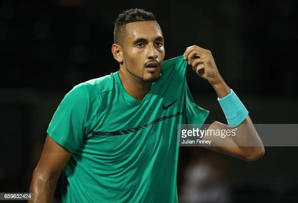 Nick Kyrgios of Australia looks on in his match against David Goffin of Belgium at Crandon Park Tennis Center on March 28 2017 in Key Biscayne Florida