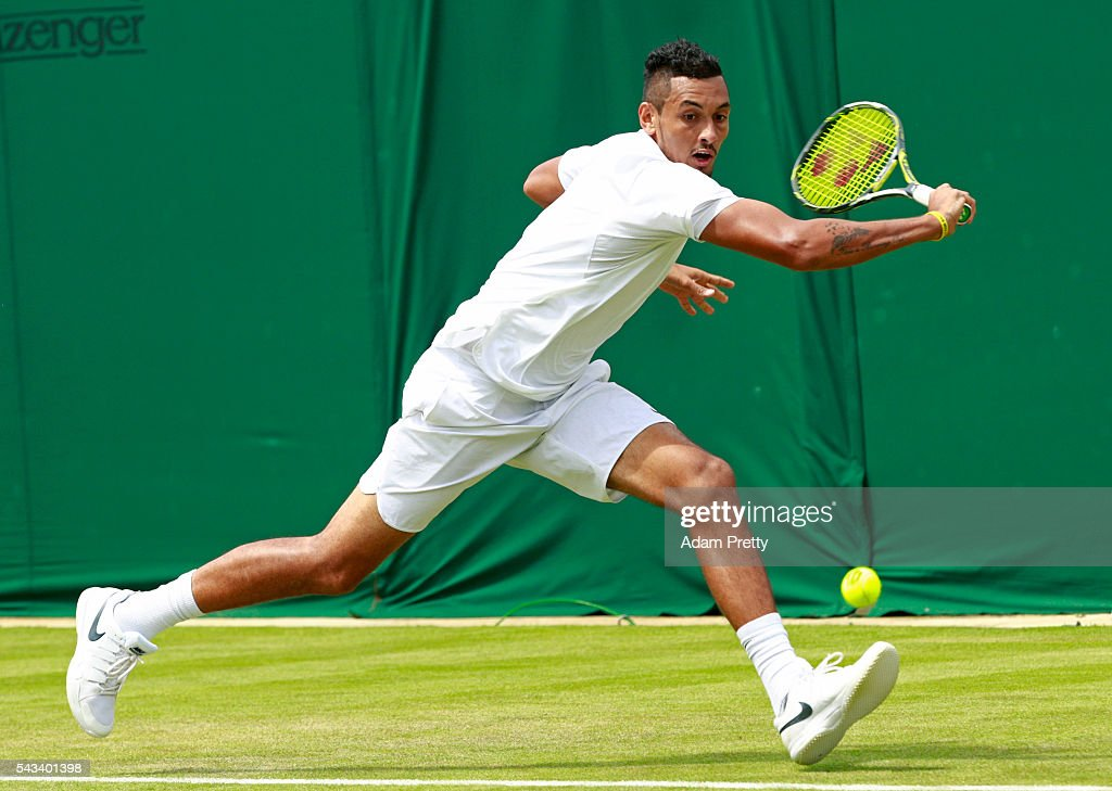 <a gi-track='captionPersonalityLinkClicked' href=/galleries/search?phrase=Nick+Kyrgios&family=editorial&specificpeople=6705178 ng-click='$event.stopPropagation()'>Nick Kyrgios</a> of Australia plays a backhand during the Men's Singles first round match against Radek Stepanek of The Czech Republic on day two of the Wimbledon Lawn Tennis Championships at the All England Lawn Tennis and Croquet Club on June 28, 2016 in London, England.