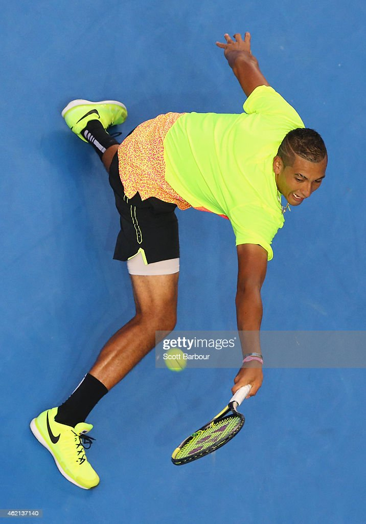 Nick Kyrgios of Australia plays a backhand in his fourth round match against Andreas Seppi of Italy during day seven of the 2015 Australian Open at Melbourne Park on January 25, 2015 in Melbourne, Australia.