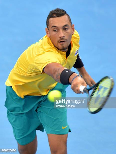 Nick Kyrgios of Australia plays a backhand in his match against Sam Querrey of the USA during the Davis Cup World Group Quarterfinals between...