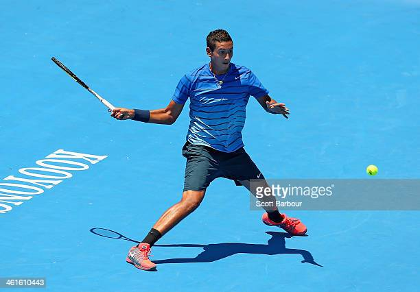 Nick Kyrgios of Australia plays a forehand during his match against Fernando Verdasco of Spain during day three of the AAMI Classic at Kooyong on...