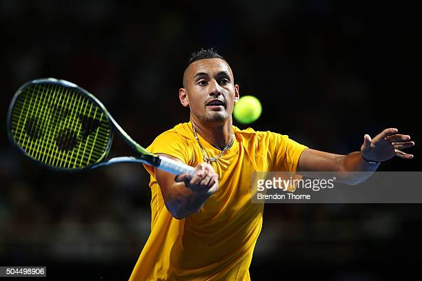 Nick Kyrgios of Australia plays a forehand during the FAST4 Tennis exhibition match between Gael Monfils and Nick Kyrgios at Allphones Arena on...