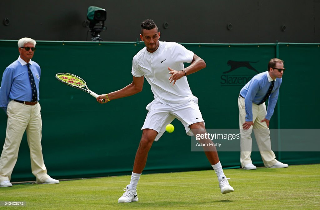 <a gi-track='captionPersonalityLinkClicked' href=/galleries/search?phrase=Nick+Kyrgios&family=editorial&specificpeople=6705178 ng-click='$event.stopPropagation()'>Nick Kyrgios</a> of Australia plays a forehand during the Men's Singles first round match against Radek Stepanek of The Czech Republic on day two of the Wimbledon Lawn Tennis Championships at the All England Lawn Tennis and Croquet Club on June 28, 2016 in London, England.