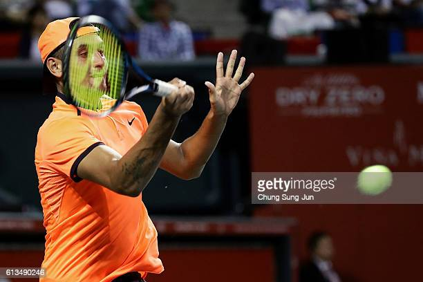 Nick Kyrgios of Australia plays a forehand during the men's singles final match against David Goffin of Belgium on day seven of Rakuten Open 2016 at...