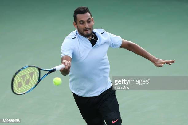 Nick Kyrgios of Australia plays a forehand during the Men's singles mach against Steve Johnson of United States on day 3 of Shanghai Rolex Masters at...