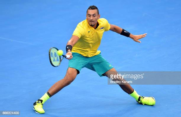 Nick Kyrgios of Australia plays a shot in his match against Sam Querrey of the USA during the Davis Cup World Group Quarterfinals between Australia...