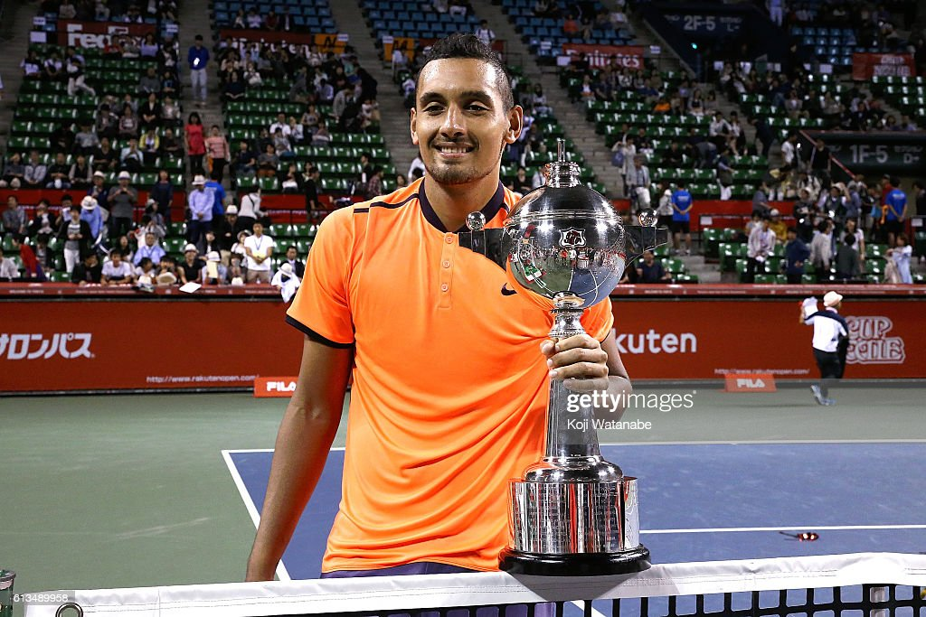 Nick Kyrgios of Australia poses with the trophy after winning the men's singles final match against David Goffin of Belgium on day seven of Rakuten Open 2016 at Ariake Colosseum on October 9, 2016 in Tokyo, Japan.