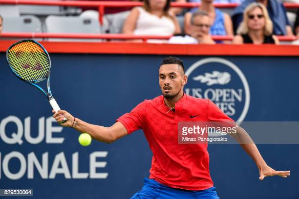 Nick Kyrgios of Australia prepares to hit a return against Alexander Zverev of Germany during day seven of the Rogers Cup presented by National Bank...