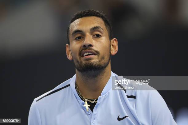 Nick Kyrgios of Australia reacts after losing the point duirng the Men's Singles final against Rafael Nadal of Spain on day nine of the 2017 China...