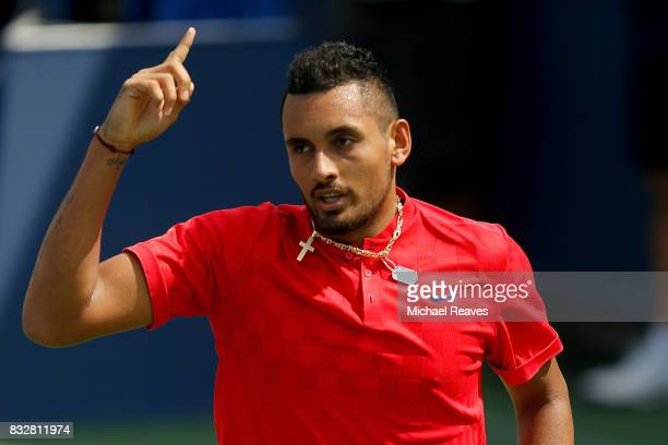 Nick Kyrgios of Australia reacts against Alexandr Dolgopolov of Ukraine during Day 5 of the Western and Southern Open at the Lindner Family Tennis...