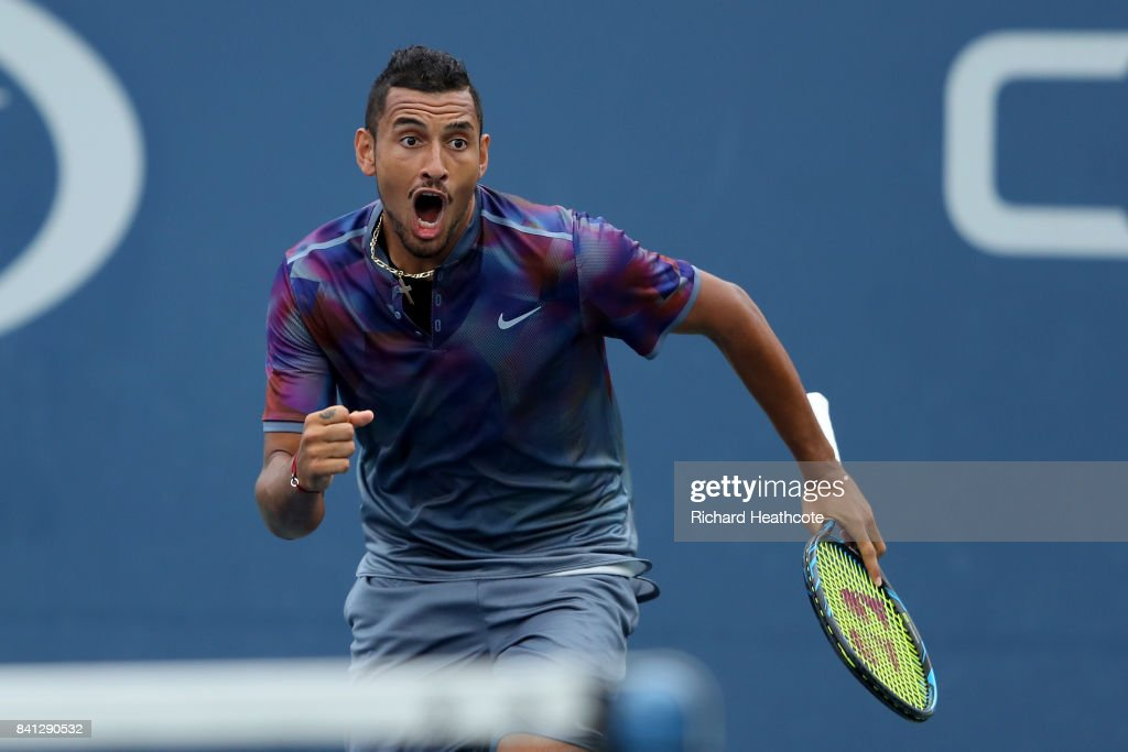 Nick Kyrgios of Australia reacts against Joao Sousa of Portugal and Jan-Lennard Struff of Germany during their first round Men's Doubles match on Day Four of the 2017 US Open at the USTA Billie Jean King National Tennis Center on August 31, 2017 in the Flushing neighborhood of the Queens borough of New York City.