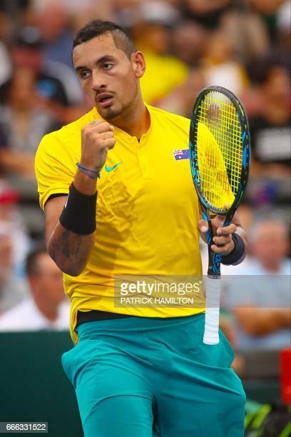 Nick Kyrgios of Australia reacts during his tennis match against Sam Querrey of the US in the world group quarterfinal Davis Cup clash between...