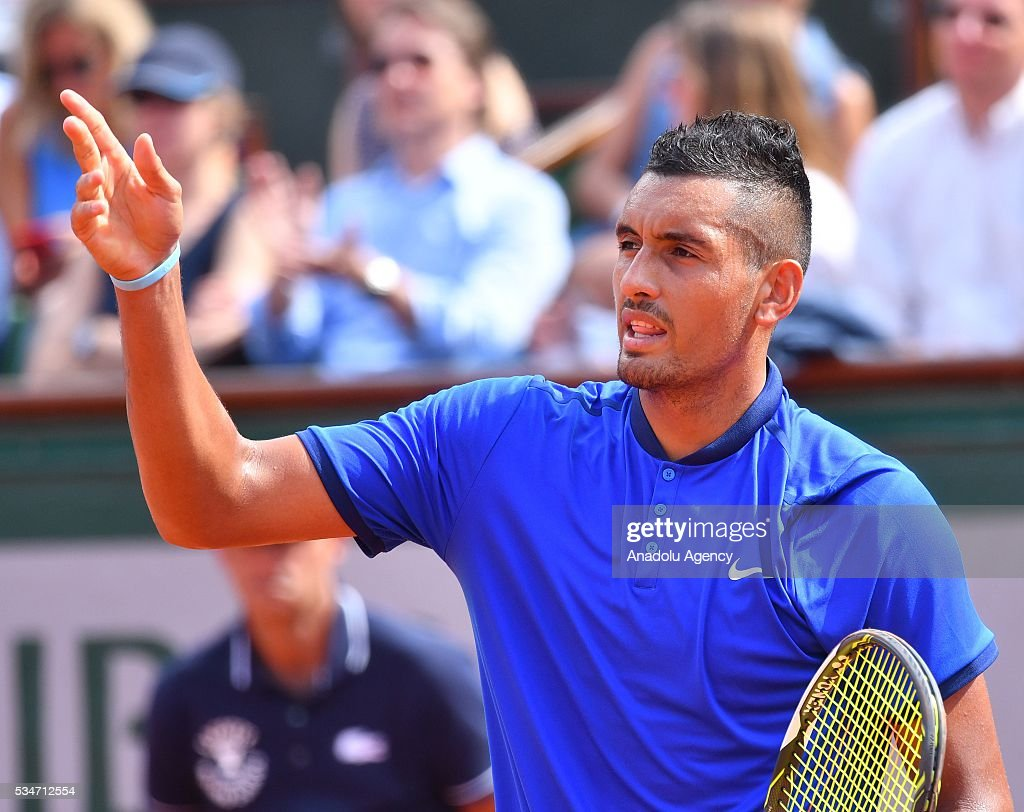 Nick Kyrgios of Australia reacts during the match against Richard Gasquet of France (not seen), during the men's single third round match at the French Open tennis tournament at Roland Garros Stadium in Paris, France on May 27, 2016.