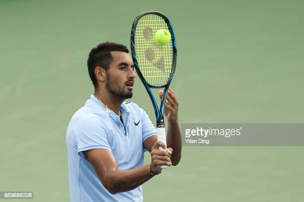 Nick Kyrgios of Australia reacts during the Men's singles mach against Steve Johnson of United States on day 3 of Shanghai Rolex Masters at Qi Zhong...