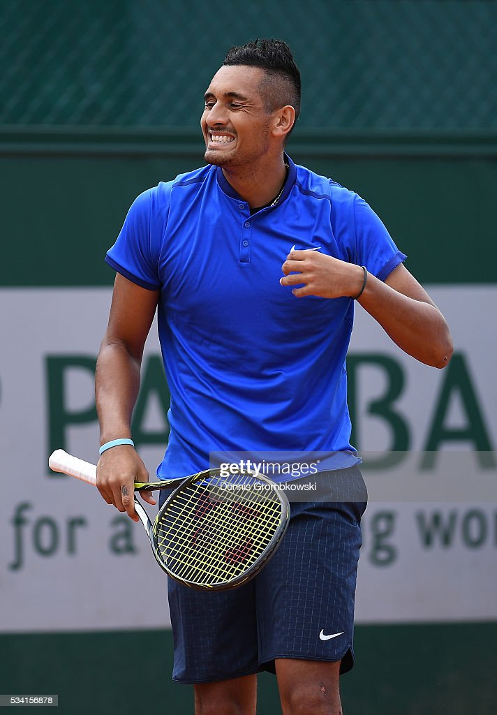 <a gi-track='captionPersonalityLinkClicked' href=/galleries/search?phrase=Nick+Kyrgios&family=editorial&specificpeople=6705178 ng-click='$event.stopPropagation()'>Nick Kyrgios</a> of Australia reacts during the Men's Singles second round match against Igor Sijsling of Netherlands on day four of the 2016 French Open at Roland Garros on May 25, 2016 in Paris, France.