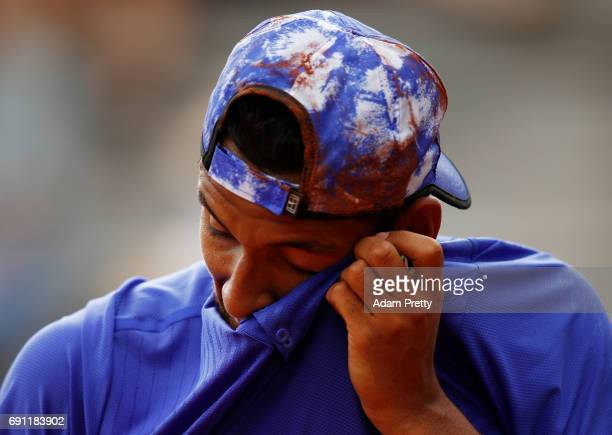 Nick Kyrgios of Australia reacts during the men's singles second round match against Kevin Anderson of the United States on day five of the 2017...