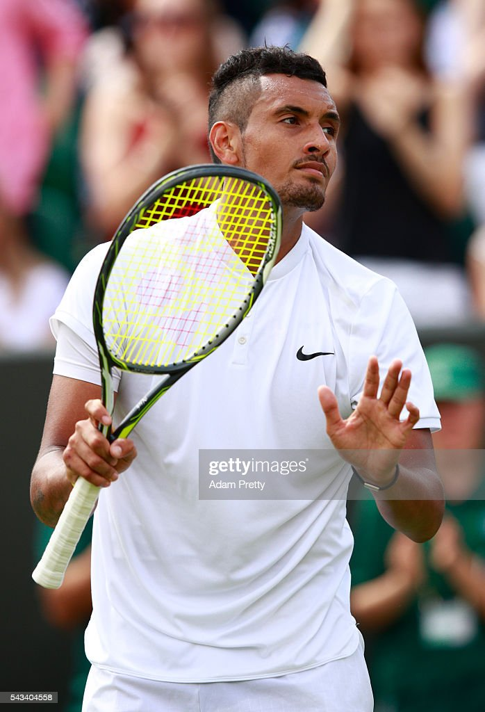 <a gi-track='captionPersonalityLinkClicked' href=/galleries/search?phrase=Nick+Kyrgios&family=editorial&specificpeople=6705178 ng-click='$event.stopPropagation()'>Nick Kyrgios</a> of Australia reacts following victorty during the Men's Singles first round match against Radek Stepanek of The Czech Republic on day two of the Wimbledon Lawn Tennis Championships at the All England Lawn Tennis and Croquet Club on June 28, 2016 in London, England.