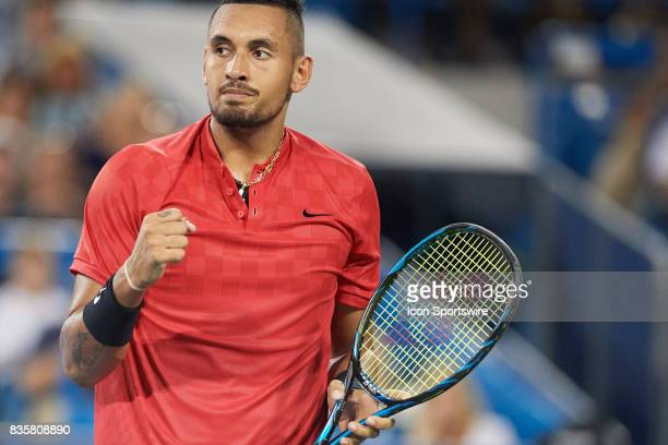 Nick Kyrgios of Australia reacts to a point against David Ferrer of Spain during their semifinal match in the Western Southern Open at the Lindner...