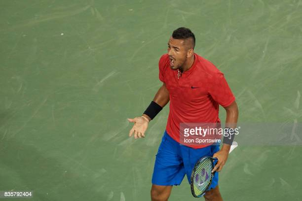 Nick Kyrgios of Australia reacts to losing a game during his quarter final match against Rafael Nadal of Spain in the Western Southern Open at the...