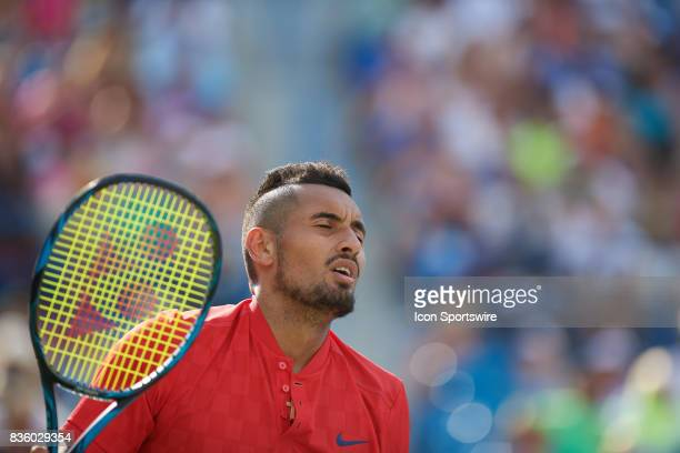 Nick Kyrgios of Australia reacts to losing a point to Grigor Dimitrov of Bulgaria during the men's finals in the Western Southern Open at the Lindner...
