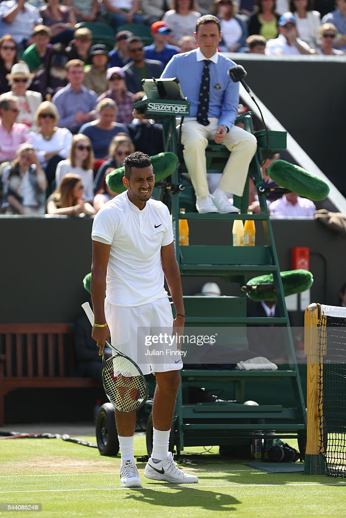 Nick Kyrgios of Australia reacts to the Umpire during the Men's Singles second round match against Dustin Brown of Germany on day five of the Wimbledon Lawn Tennis Championships at the All England Lawn Tennis and Croquet Club on July 1, 2016 in London, England.