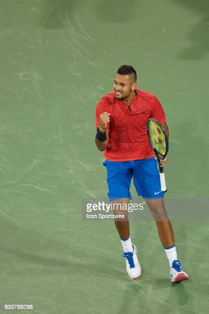 Nick Kyrgios of Australia reacts to winning the point during his quarter final match against Rafael Nadal of Spain in the Western Southern Open at...
