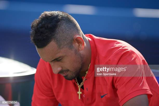 Nick Kyrgios of Australia reflects on losing the match against Grigor Dimitrov of Bulgaria during the men's finals in the Western Southern Open at...