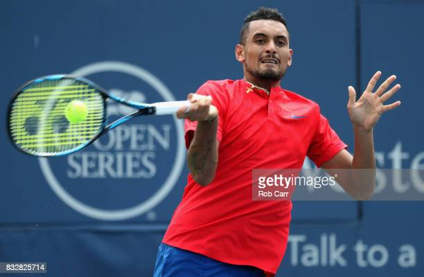 Nick Kyrgios of Australia returns a shot against Alexandr Dolgopolov of Ukraine during Day 5 of the Western Southern Open at the Linder Family Tennis...