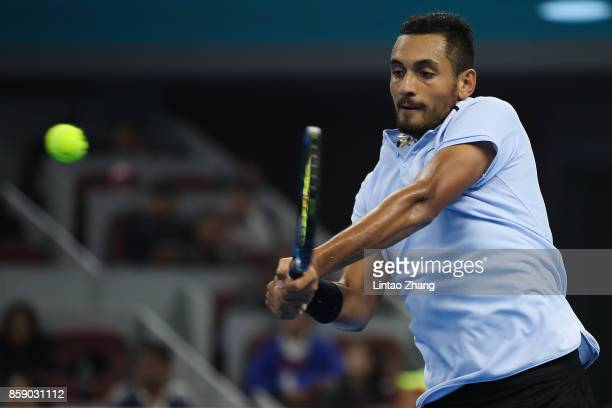 Nick Kyrgios of Australia returns a shot during the Men's Singles final against Rafael Nadal of Spain on day nine of the 2017 China Open at the China...