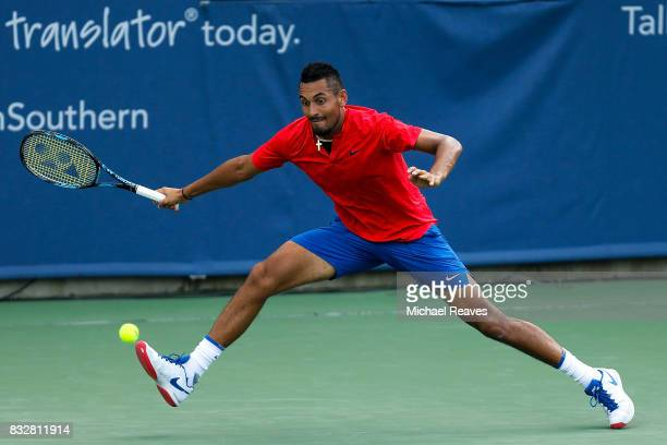 Nick Kyrgios of Australia returns a shot to Alexandr Dolgopolov of Ukraine during Day 5 of the Western and Southern Open at the Lindner Family Tennis...