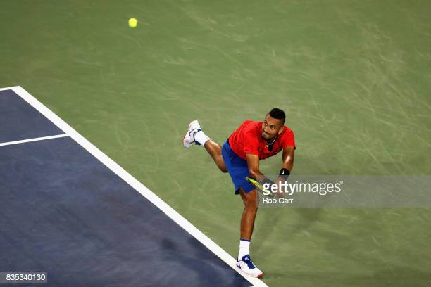 Nick Kyrgios of Australia returns a shot to Rafael Nadal of Spain during Day 7 of the Western and Southern Open at the Linder Family Tennis Center on...