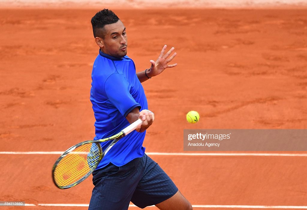 Nick Kyrgios of Australia returns to Richard Gasquet of France (not seen) during the men's single third round match at the French Open tennis tournament at Roland Garros Stadium in Paris, France on May 27, 2016.