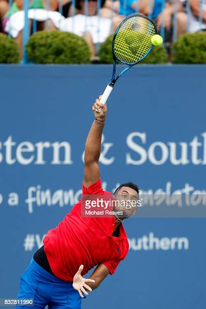 Nick Kyrgios of Australia serves against Alexandr Dolgopolov of Ukraine during Day 5 of the Western and Southern Open at the Lindner Family Tennis...