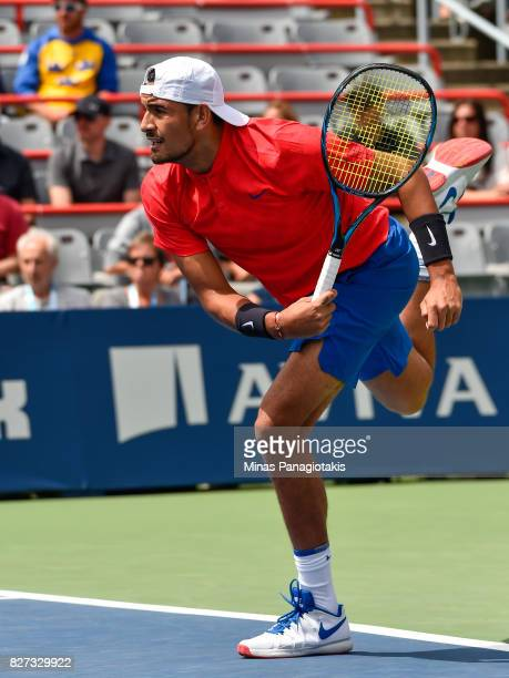 Nick Kyrgios of Australia serves against Viktor Troicki of Serbia Montenegro during day four of the Rogers Cup presented by National Bank at Uniprix...