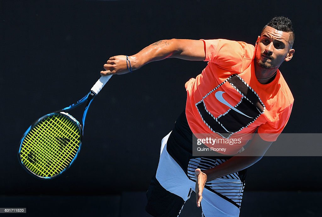 Nick Kyrgios of Australia serves during a practice session ahead of the 2017 Australian Open at Melbourne Park on January 15, 2017 in Melbourne, Australia.