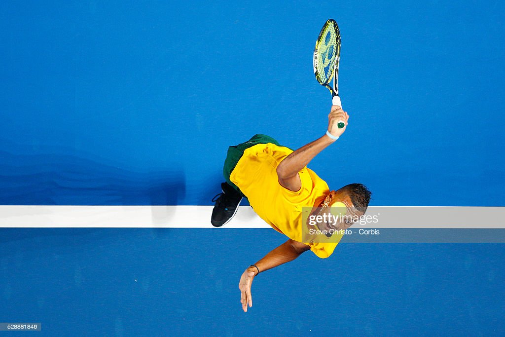 Nick Kyrgios of Australia serves during his match against The World's Gael Monfils during the Fast 4 tennis tournament at Allophones Arena Sydney...